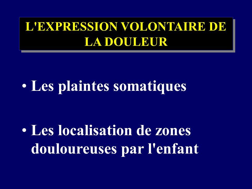 L'EXPRESSION VOLONTAIRE DE LA DOULEUR Les plaintes somatiques Les localisation de zones douloureuses par l'enfant