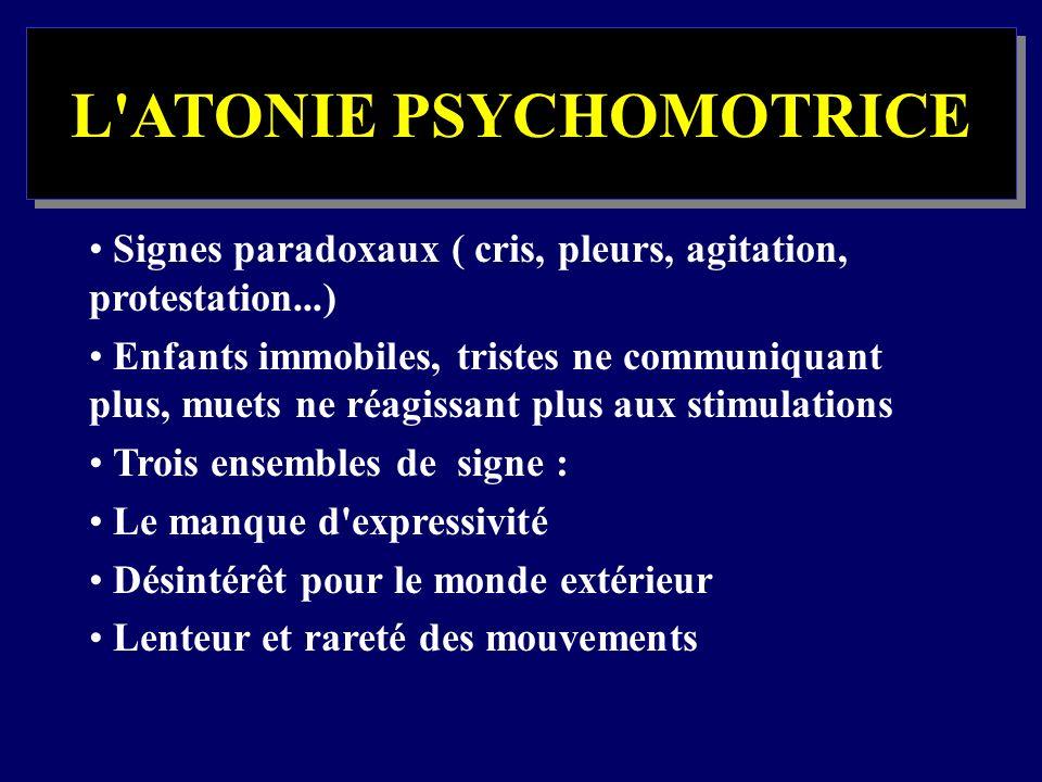 L'ATONIE PSYCHOMOTRICE Signes paradoxaux ( cris, pleurs, agitation, protestation...) Enfants immobiles, tristes ne communiquant plus, muets ne réagiss