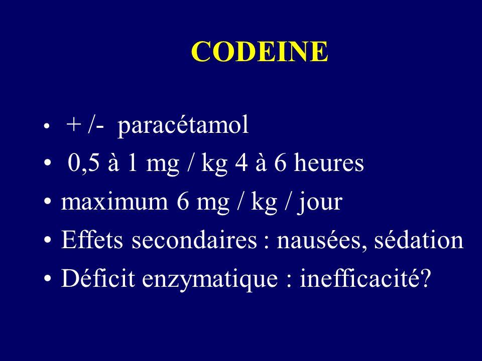 CODEINE + /- paracétamol 0,5 à 1 mg / kg 4 à 6 heures maximum 6 mg / kg / jour Effets secondaires : nausées, sédation Déficit enzymatique : inefficaci