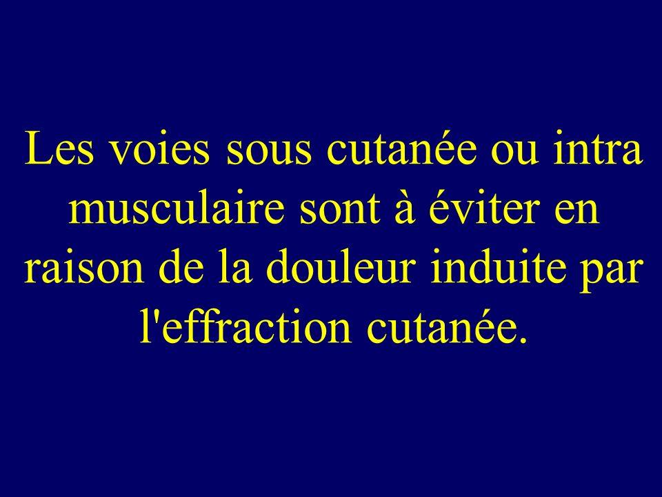 Les voies sous cutanée ou intra musculaire sont à éviter en raison de la douleur induite par l'effraction cutanée.