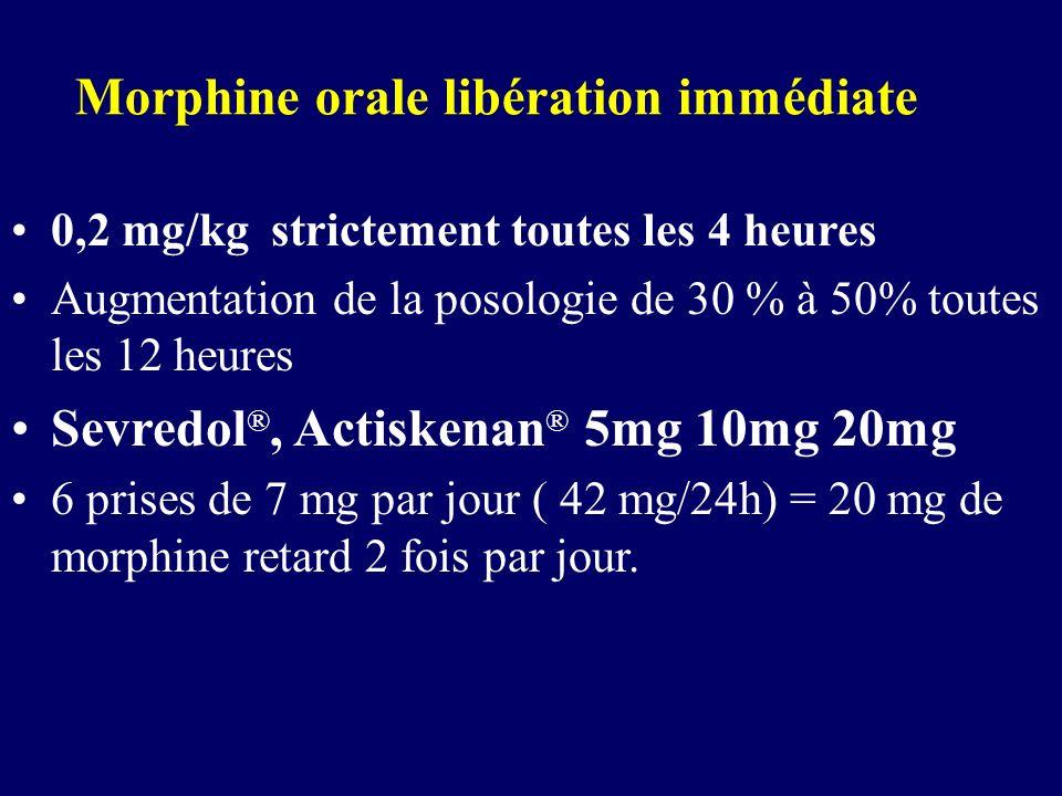 Morphine orale libération immédiate 0,2 mg/kg strictement toutes les 4 heures Augmentation de la posologie de 30 % à 50% toutes les 12 heures Sevredol