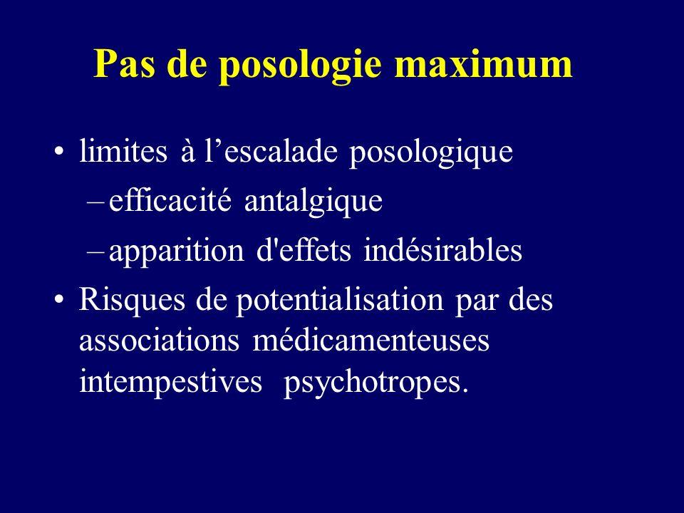 Pas de posologie maximum limites à lescalade posologique –efficacité antalgique –apparition d'effets indésirables Risques de potentialisation par des