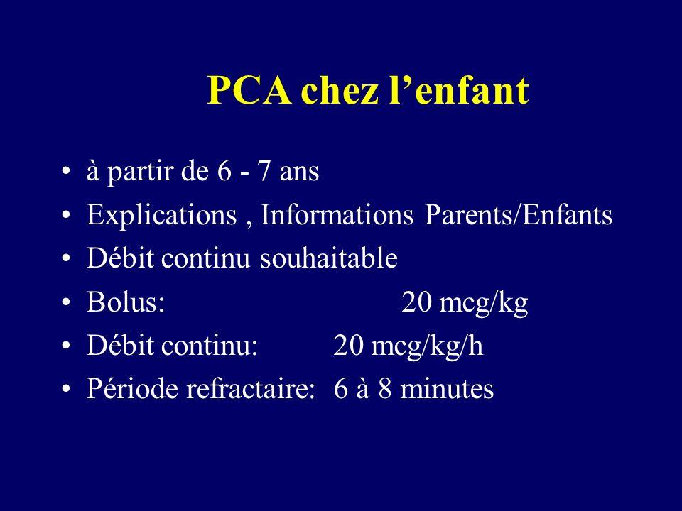PCA chez lenfant à partir de 6 - 7 ans Explications, Informations Parents/Enfants Débit continu souhaitable Bolus:20 mcg/kg Débit continu:20 mcg/kg/h