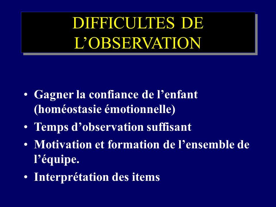 DIFFICULTES DE LOBSERVATION Gagner la confiance de lenfant (homéostasie émotionnelle) Temps dobservation suffisant Motivation et formation de lensembl