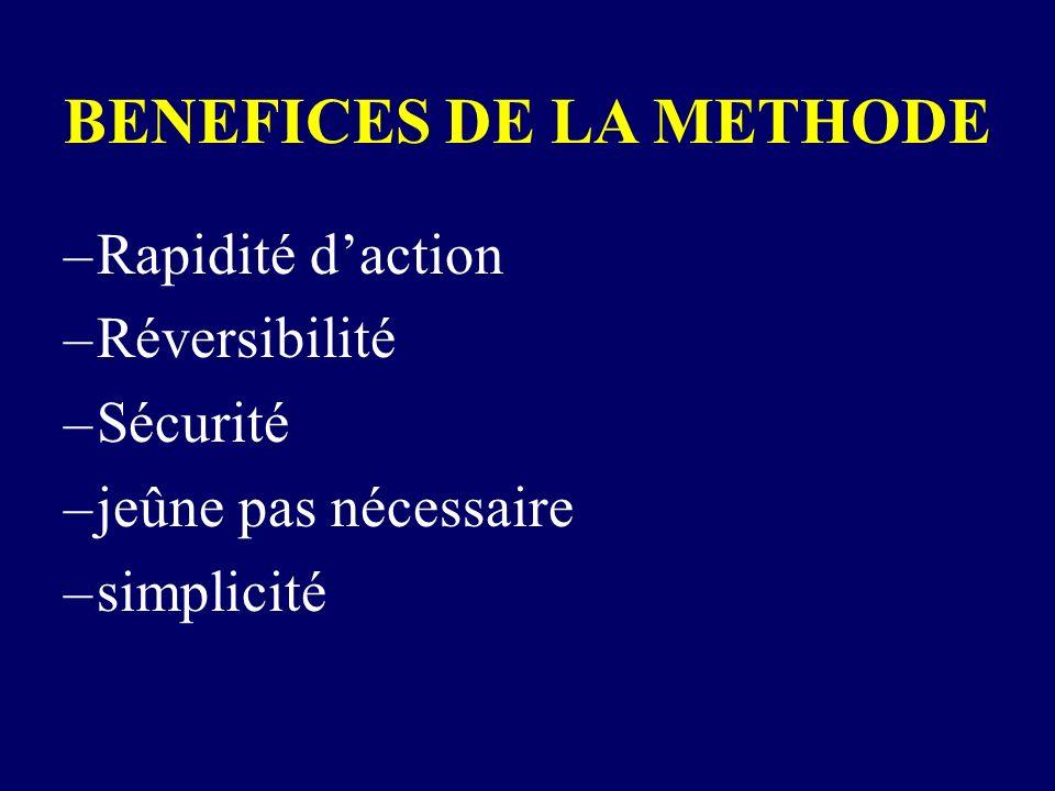 BENEFICES DE LA METHODE –Rapidité daction –Réversibilité –Sécurité –jeûne pas nécessaire –simplicité