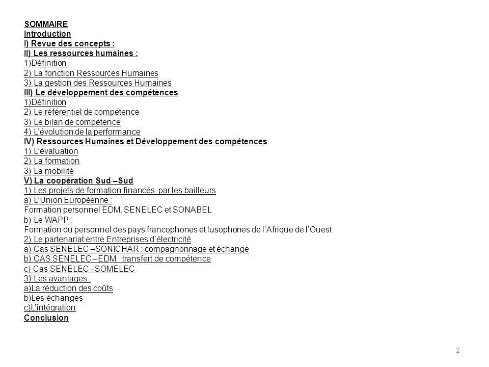 SOMMAIRE Introduction I) Revue des concepts : II) Les ressources humaines : 1)Définition 2) La fonction Ressources Humaines 3) La gestion des Ressourc