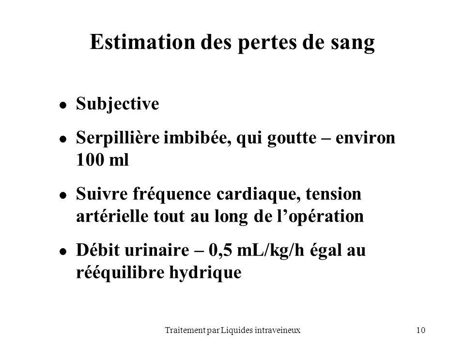 10Traitement par Liquides intraveineux Estimation des pertes de sang Subjective Serpillière imbibée, qui goutte – environ 100 ml Suivre fréquence card