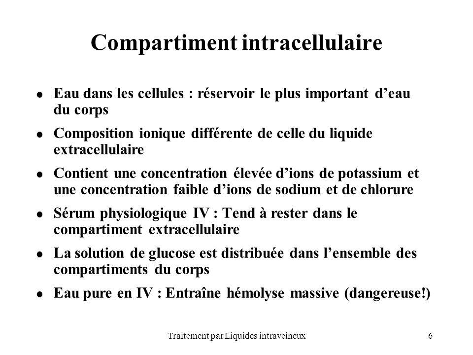 6Traitement par Liquides intraveineux Compartiment intracellulaire Eau dans les cellules : réservoir le plus important deau du corps Composition ioniq