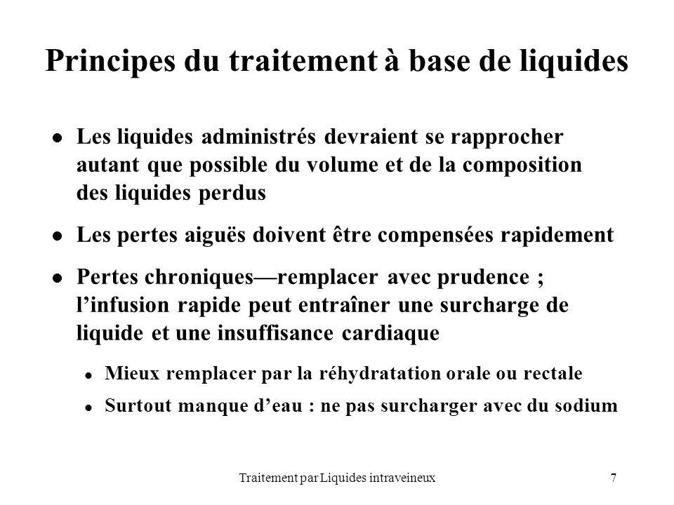 7Traitement par Liquides intraveineux Principes du traitement à base de liquides Les liquides administrés devraient se rapprocher autant que possible