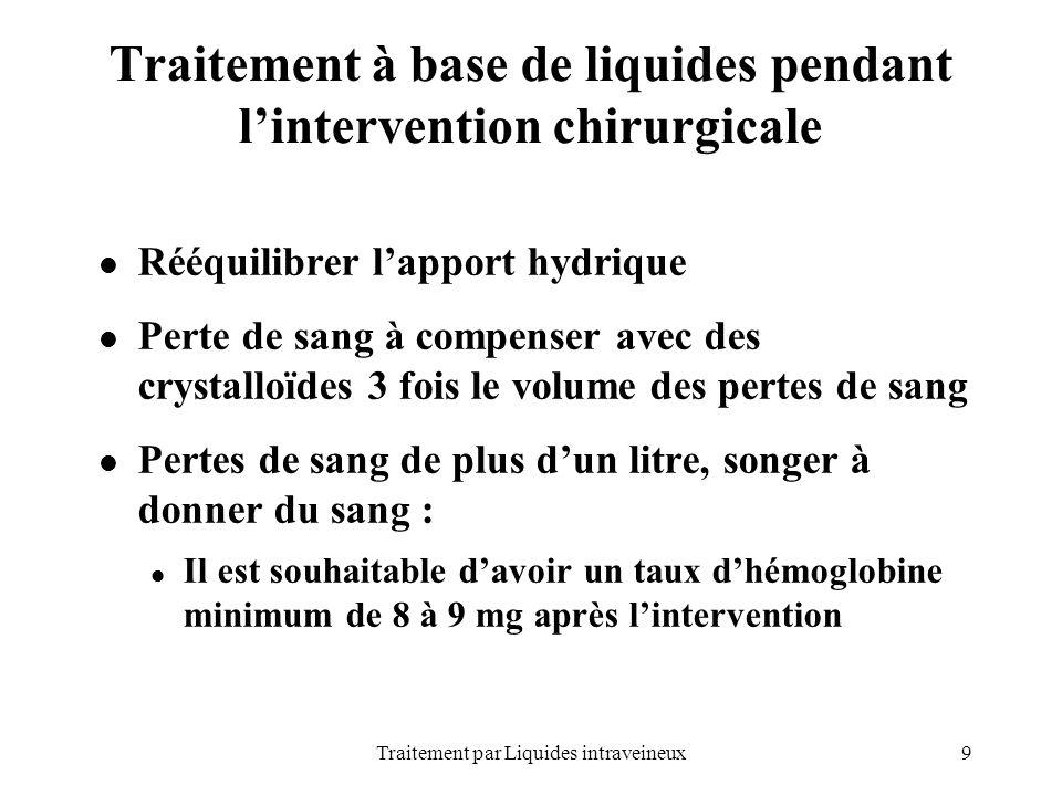 9Traitement par Liquides intraveineux Traitement à base de liquides pendant lintervention chirurgicale Rééquilibrer lapport hydrique Perte de sang à c