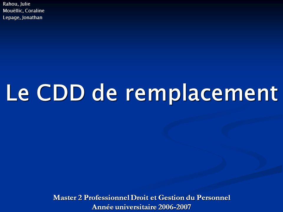 Le CDD de remplacement Master 2 Professionnel Droit et Gestion du Personnel Année universitaire 2006-2007 Rahou, Julie Mouëllic, Coraline Lepage, Jonathan