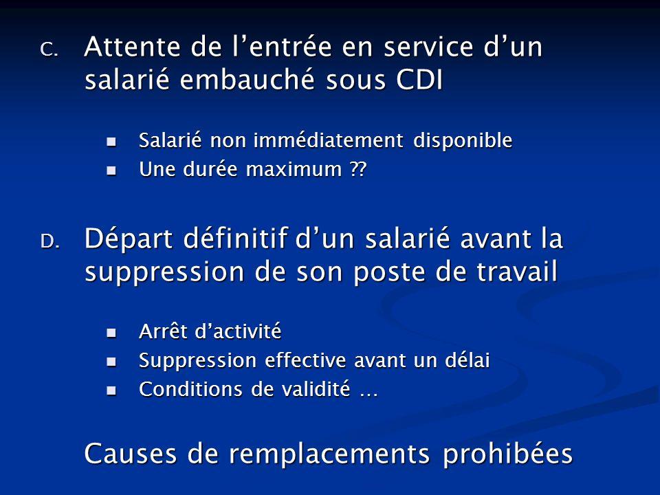 C. Attente de lentrée en service dun salarié embauché sous CDI Salarié non immédiatement disponible Salarié non immédiatement disponible Une durée max