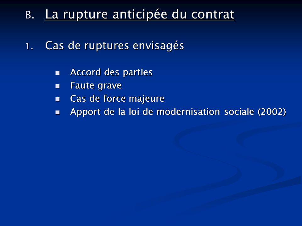B. La rupture anticipée du contrat 1. Cas de ruptures envisagés Accord des parties Accord des parties Faute grave Faute grave Cas de force majeure Cas