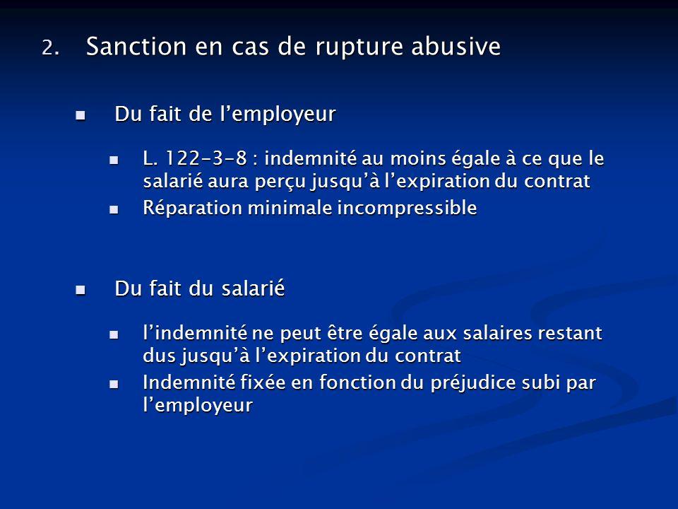 2. Sanction en cas de rupture abusive Du fait de lemployeur Du fait de lemployeur L. 122-3-8 : indemnité au moins égale à ce que le salarié aura perçu