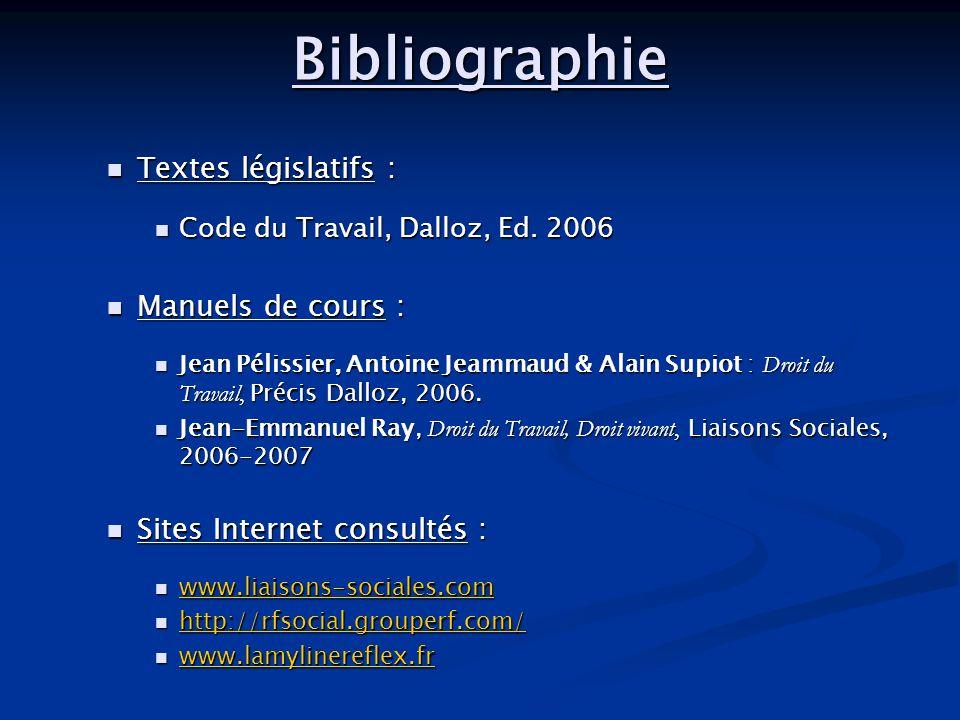 Bibliographie Textes législatifs : Textes législatifs : Code du Travail, Dalloz, Ed. 2006 Code du Travail, Dalloz, Ed. 2006 Manuels de cours : Manuels