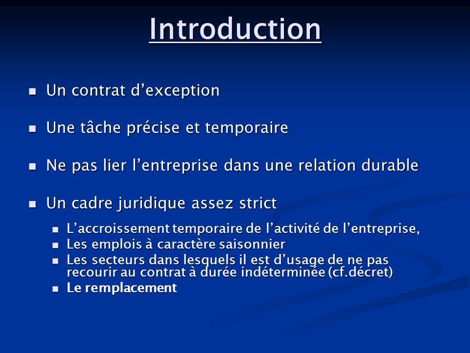 Introduction Un contrat dexception Un contrat dexception Une tâche précise et temporaire Une tâche précise et temporaire Ne pas lier lentreprise dans