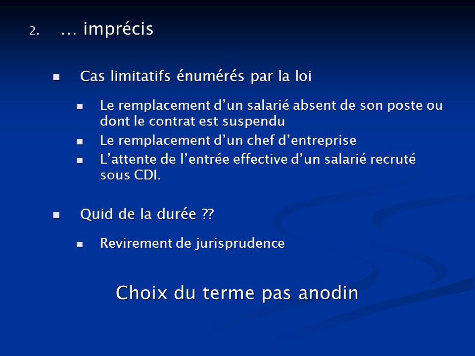 2. … imprécis Cas limitatifs énumérés par la loi Cas limitatifs énumérés par la loi Le remplacement dun salarié absent de son poste ou dont le contrat