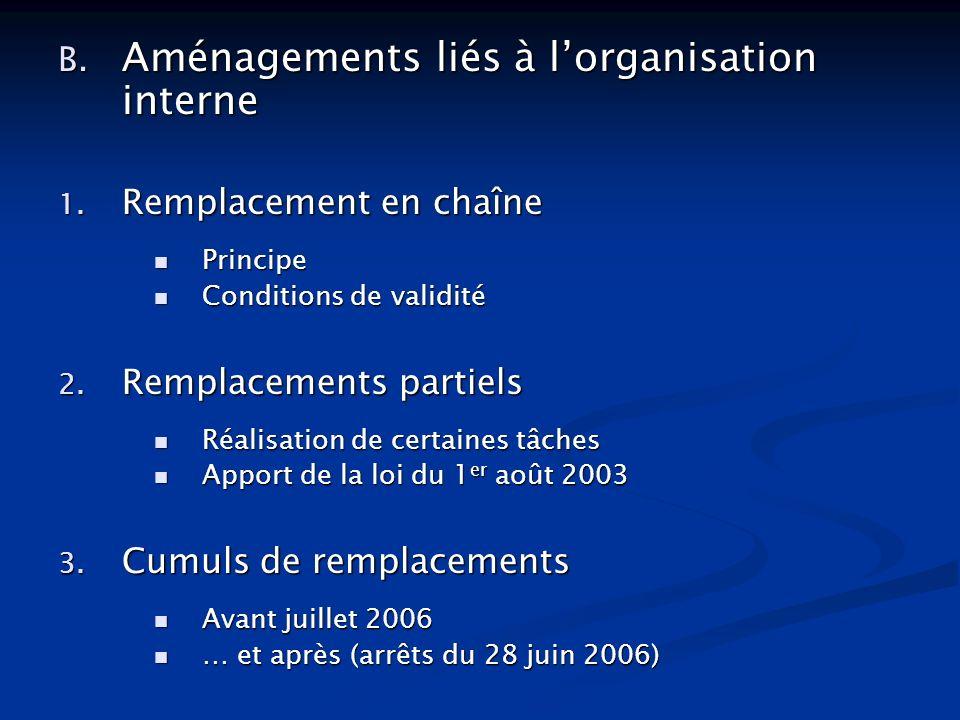 B. Aménagements liés à lorganisation interne 1. Remplacement en chaîne Principe Principe Conditions de validité Conditions de validité 2. Remplacement