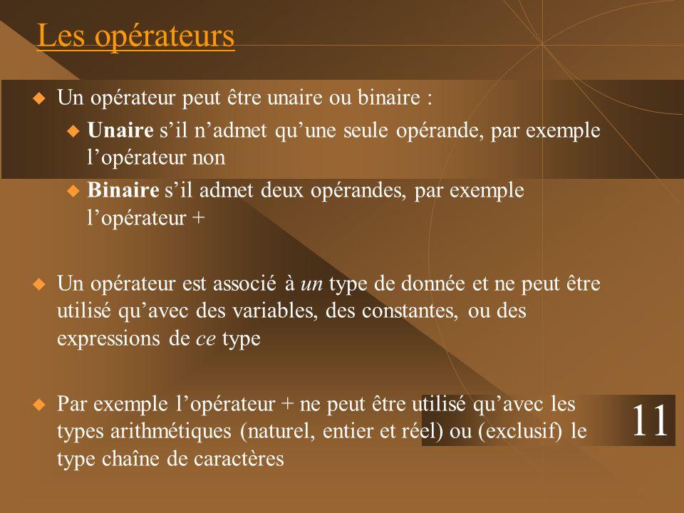11 Les opérateurs Un opérateur peut être unaire ou binaire : u Unaire sil nadmet quune seule opérande, par exemple lopérateur non u Binaire sil admet