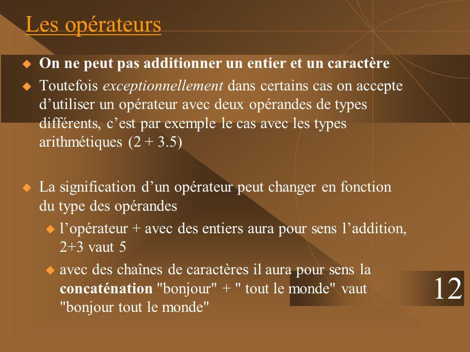 12 Les opérateurs On ne peut pas additionner un entier et un caractère Toutefois exceptionnellement dans certains cas on accepte dutiliser un opérateu