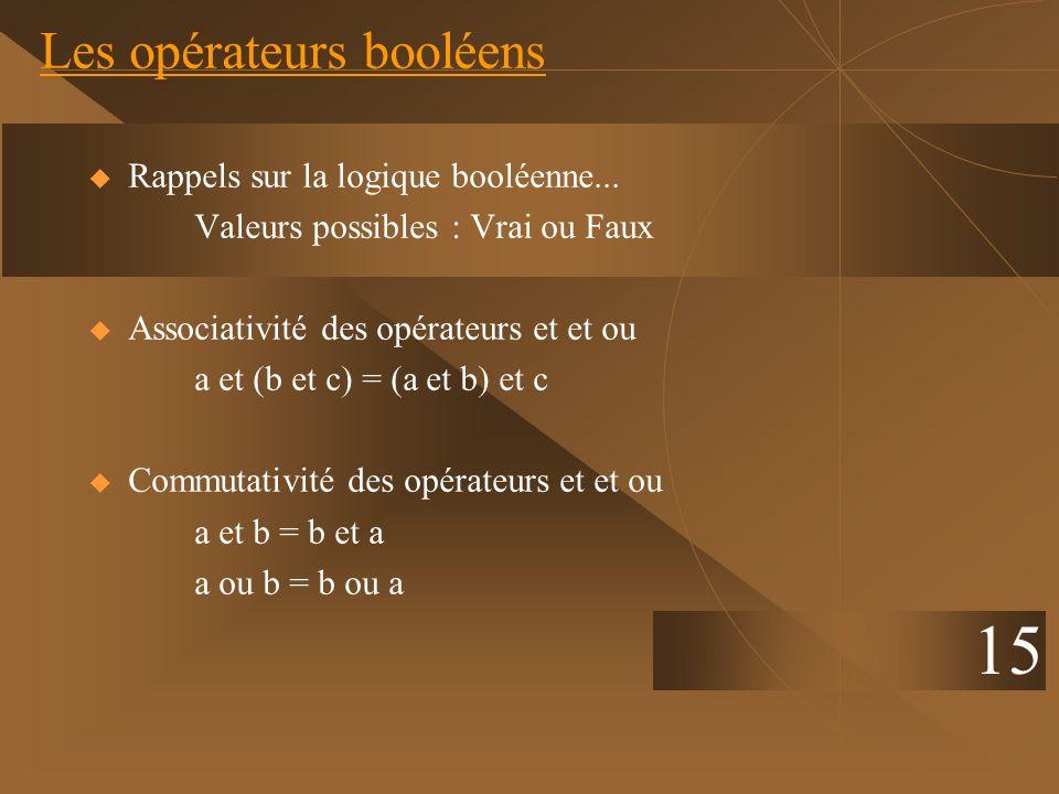 Les opérateurs booléens 15 Rappels sur la logique booléenne... Valeurs possibles : Vrai ou Faux Associativité des opérateurs et et ou a et (b et c) =