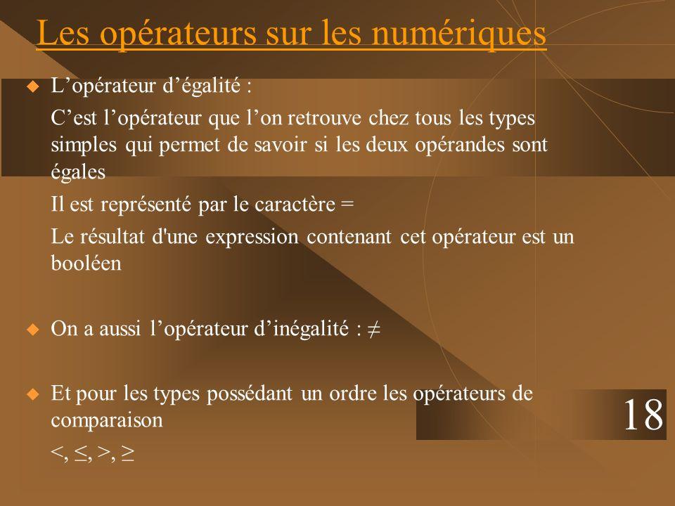 18 Les opérateurs sur les numériques Lopérateur dégalité : Cest lopérateur que lon retrouve chez tous les types simples qui permet de savoir si les de