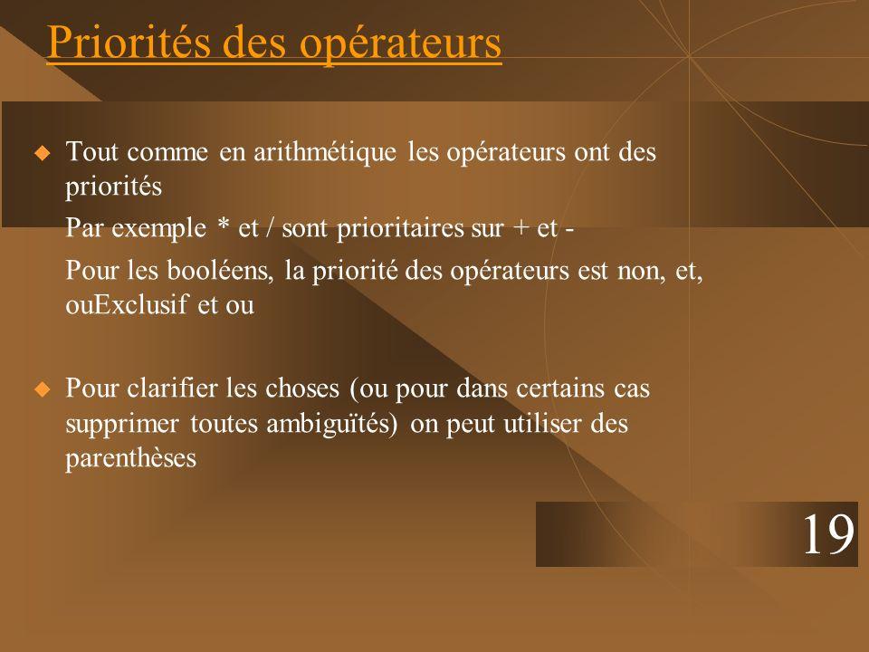 19 Priorités des opérateurs Tout comme en arithmétique les opérateurs ont des priorités Par exemple * et / sont prioritaires sur + et - Pour les boolé