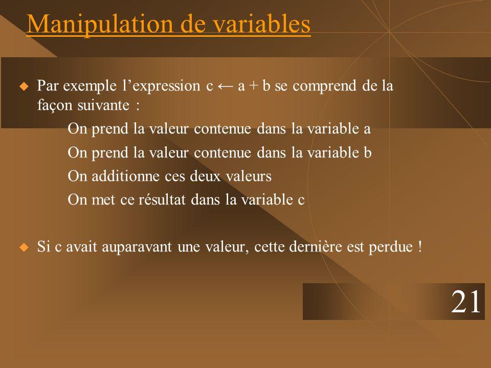 21 Manipulation de variables Par exemple lexpression c a + b se comprend de la façon suivante : On prend la valeur contenue dans la variable a On pren