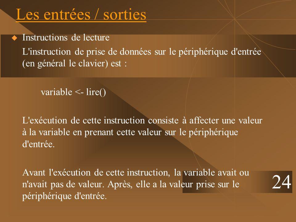 24 Les entrées / sorties Instructions de lecture L'instruction de prise de données sur le périphérique d'entrée (en général le clavier) est : variable