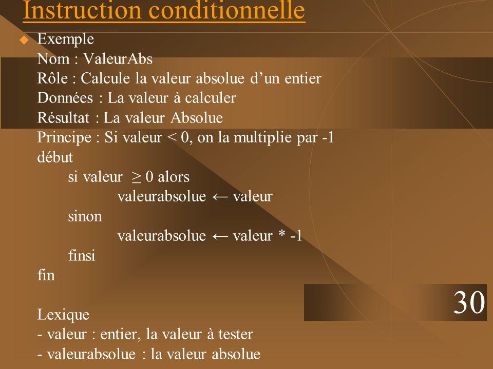 30 Instruction conditionnelle Exemple Nom : ValeurAbs Rôle : Calcule la valeur absolue dun entier Données : La valeur à calculer Résultat : La valeur