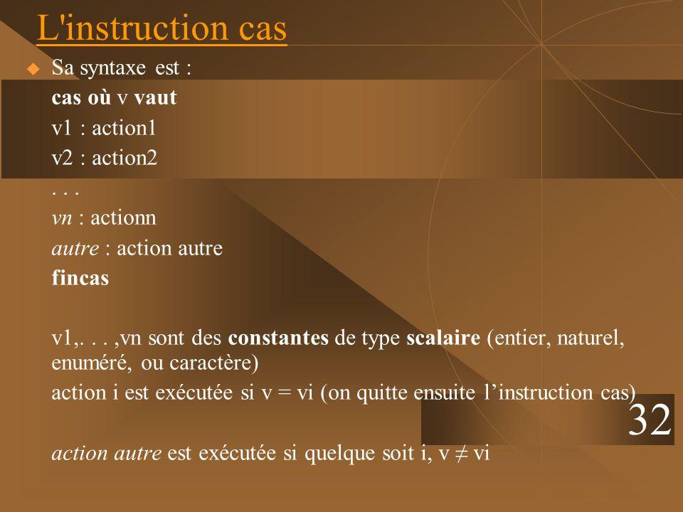 32 L'instruction cas Sa syntaxe est : cas où v vaut v1 : action1 v2 : action2... vn : actionn autre : action autre fincas v1,...,vn sont des constante