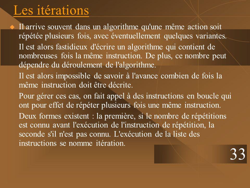 33 Les itérations Il arrive souvent dans un algorithme qu'une même action soit répétée plusieurs fois, avec éventuellement quelques variantes. Il est