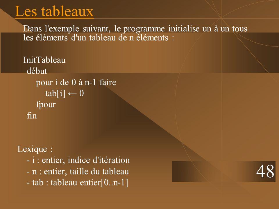 48 Les tableaux Dans l'exemple suivant, le programme initialise un à un tous les éléments d'un tableau de n éléments : InitTableau début pour i de 0 à