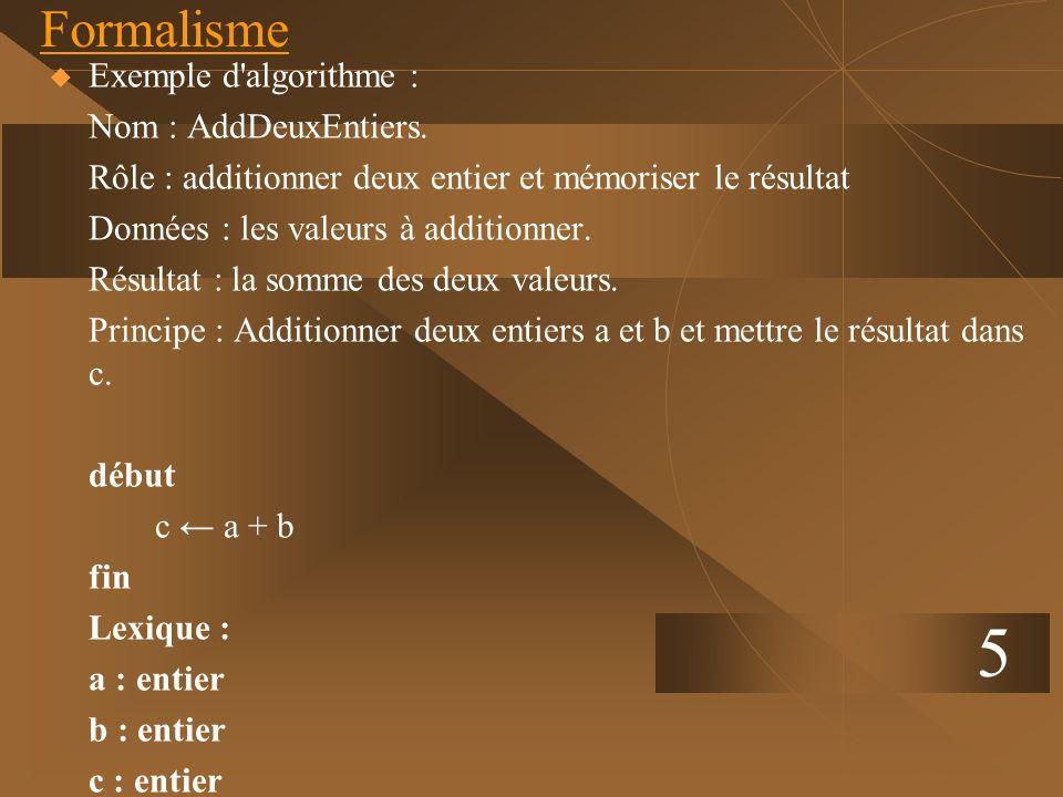 5 Formalisme Exemple d'algorithme : Nom : AddDeuxEntiers. Rôle : additionner deux entier et mémoriser le résultat Données : les valeurs à additionner.