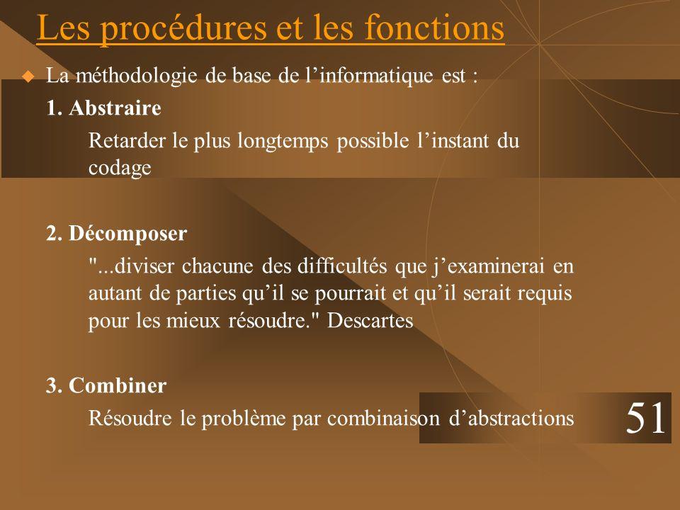 51 Les procédures et les fonctions La méthodologie de base de linformatique est : 1. Abstraire Retarder le plus longtemps possible linstant du codage