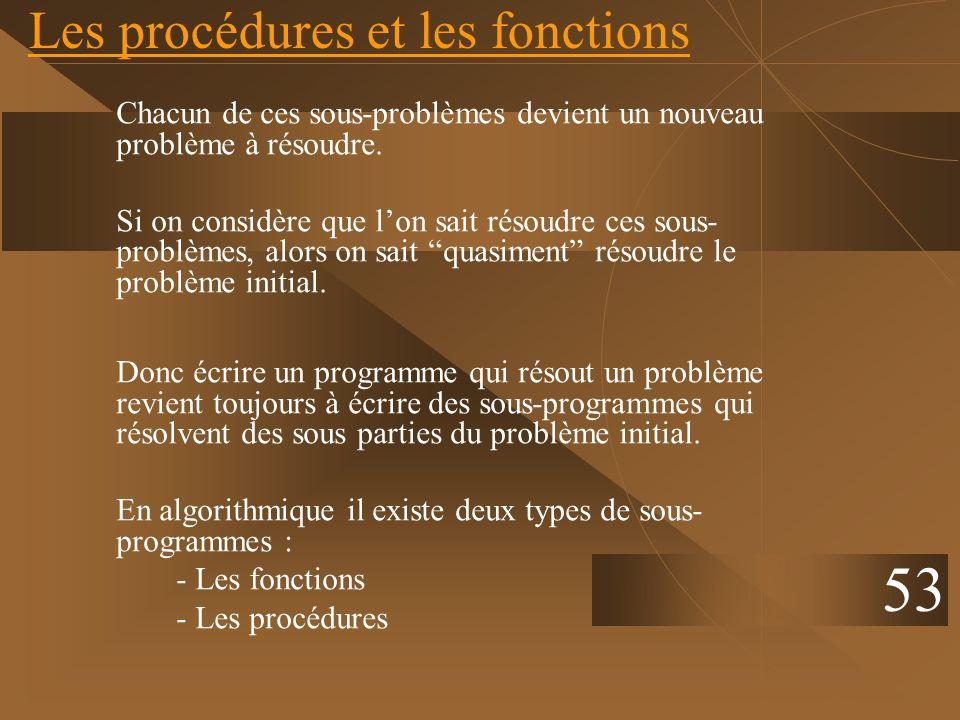 Les procédures et les fonctions Chacun de ces sous-problèmes devient un nouveau problème à résoudre. Si on considère que lon sait résoudre ces sous- p