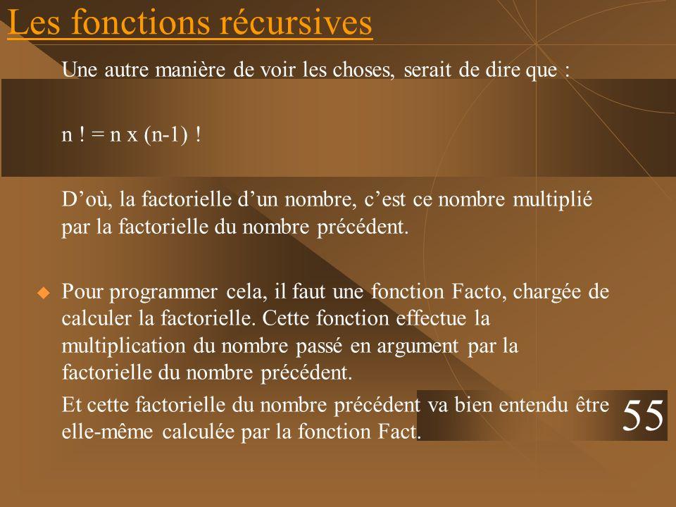Les fonctions récursives Une autre manière de voir les choses, serait de dire que : n ! = n x (n-1) ! Doù, la factorielle dun nombre, cest ce nombre m