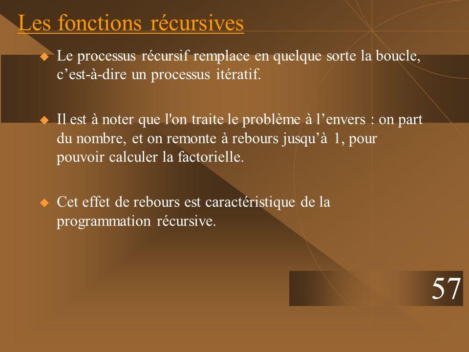 Les fonctions récursives Le processus récursif remplace en quelque sorte la boucle, cest-à-dire un processus itératif. Il est à noter que l'on traite
