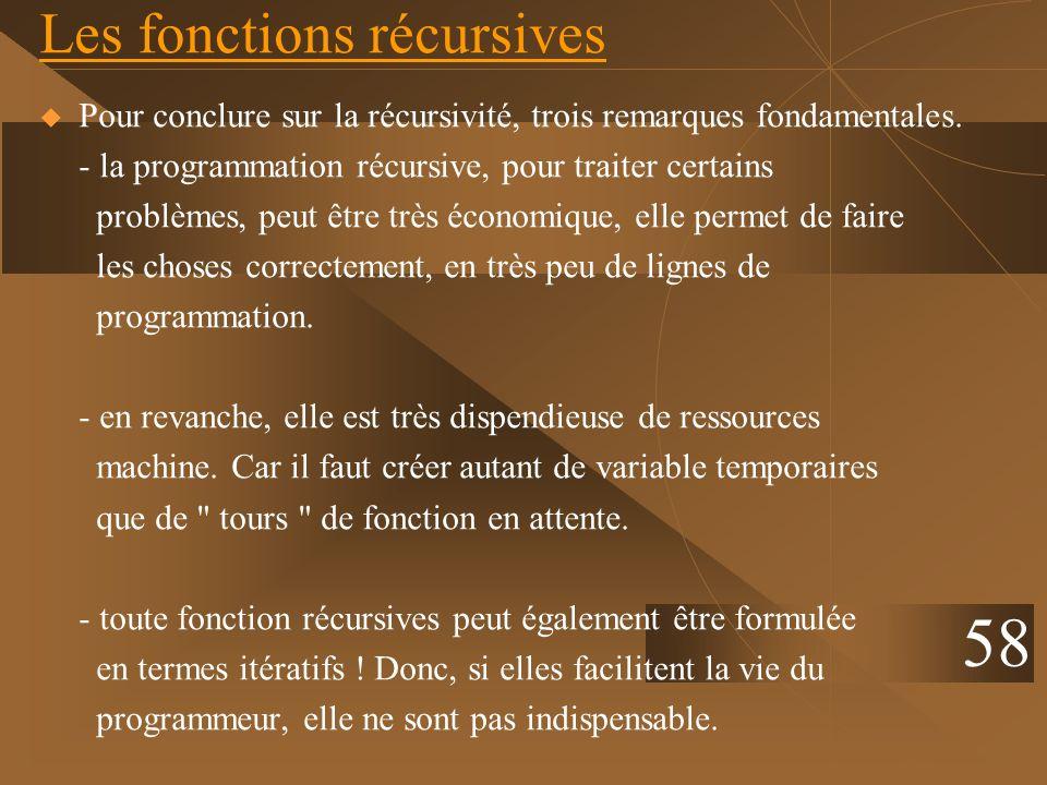 Les fonctions récursives Pour conclure sur la récursivité, trois remarques fondamentales. - la programmation récursive, pour traiter certains problème