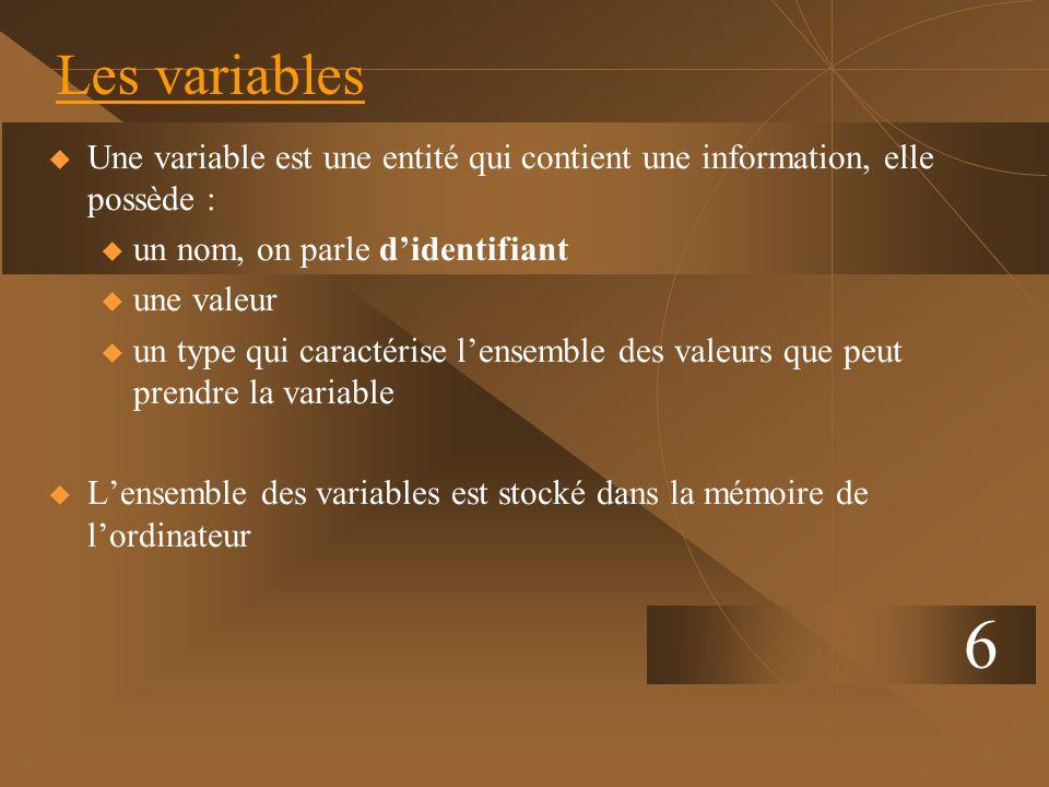 6 Les variables Une variable est une entité qui contient une information, elle possède : u un nom, on parle didentifiant u une valeur u un type qui ca