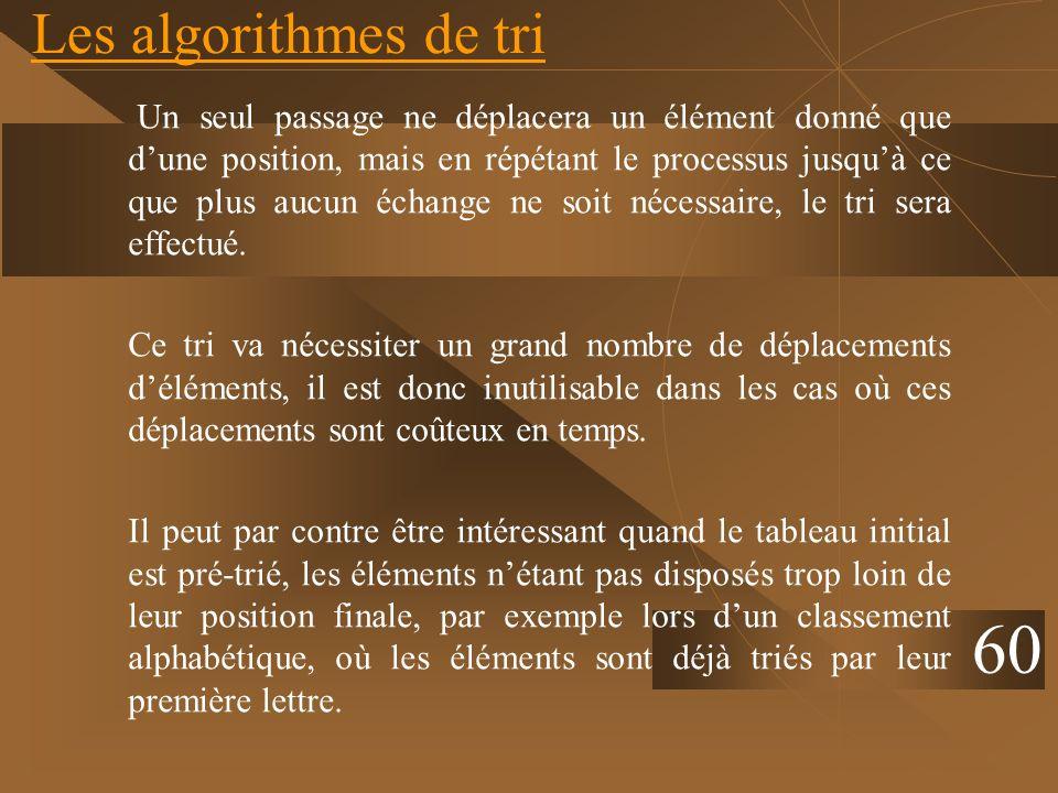 Les algorithmes de tri Un seul passage ne déplacera un élément donné que dune position, mais en répétant le processus jusquà ce que plus aucun échange
