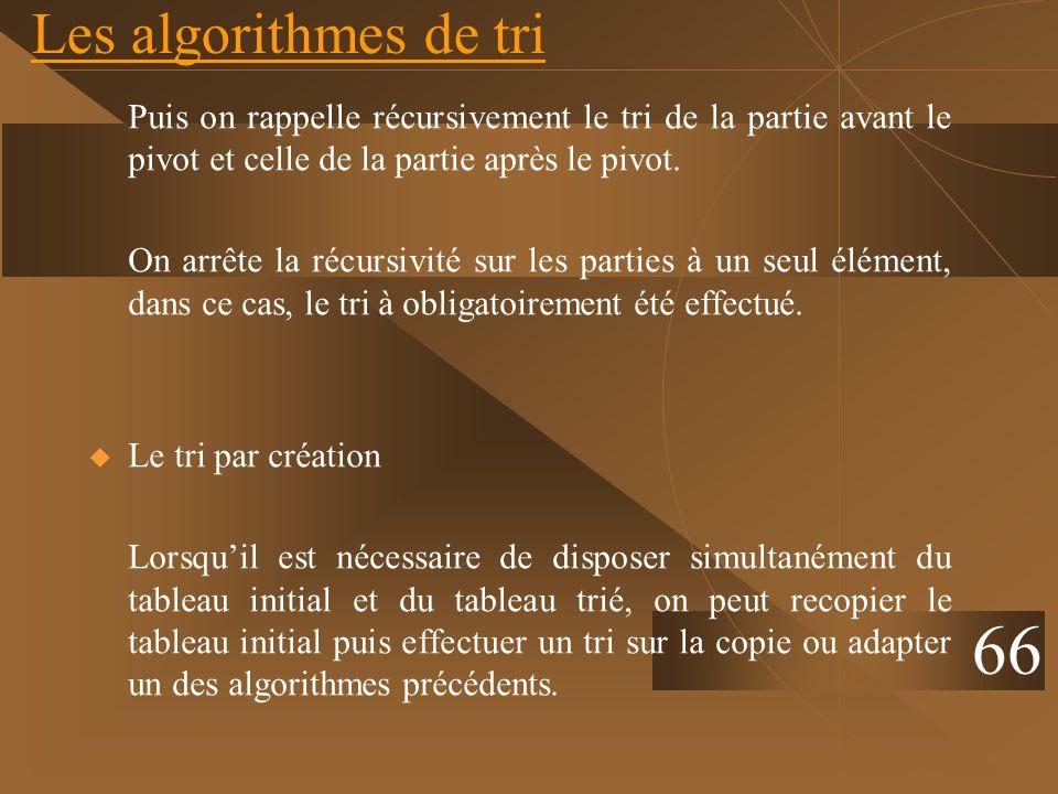 Les algorithmes de tri Puis on rappelle récursivement le tri de la partie avant le pivot et celle de la partie après le pivot. On arrête la récursivit