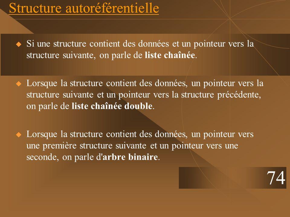 Structure autoréférentielle Si une structure contient des données et un pointeur vers la structure suivante, on parle de liste chaînée. Lorsque la str