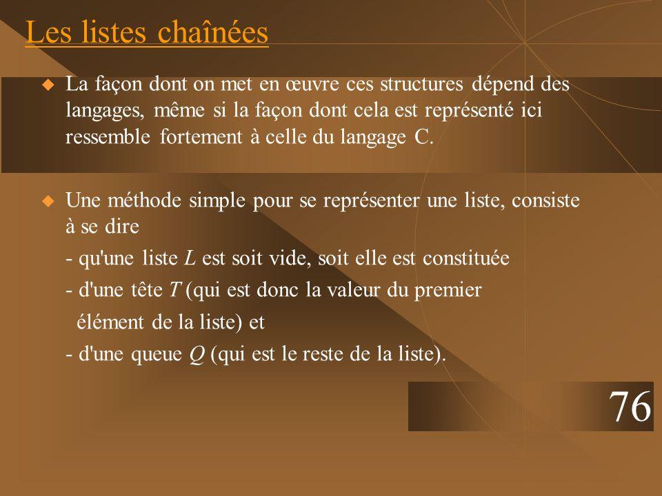 Les listes chaînées La façon dont on met en œuvre ces structures dépend des langages, même si la façon dont cela est représenté ici ressemble fortemen