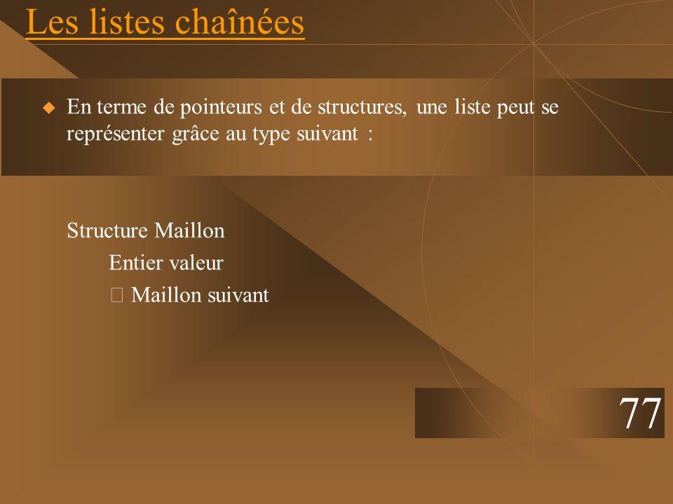 Les listes chaînées En terme de pointeurs et de structures, une liste peut se représenter grâce au type suivant : Structure Maillon Entier valeur Mail