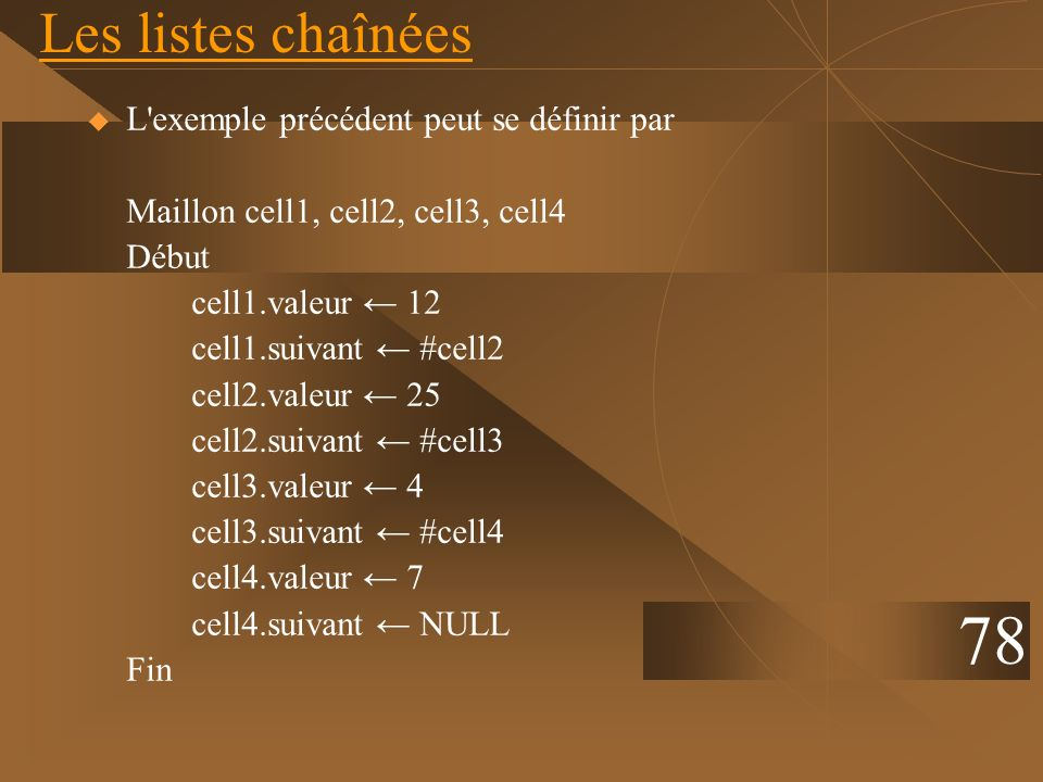 Les listes chaînées L'exemple précédent peut se définir par Maillon cell1, cell2, cell3, cell4 Début cell1.valeur 12 cell1.suivant #cell2 cell2.valeur