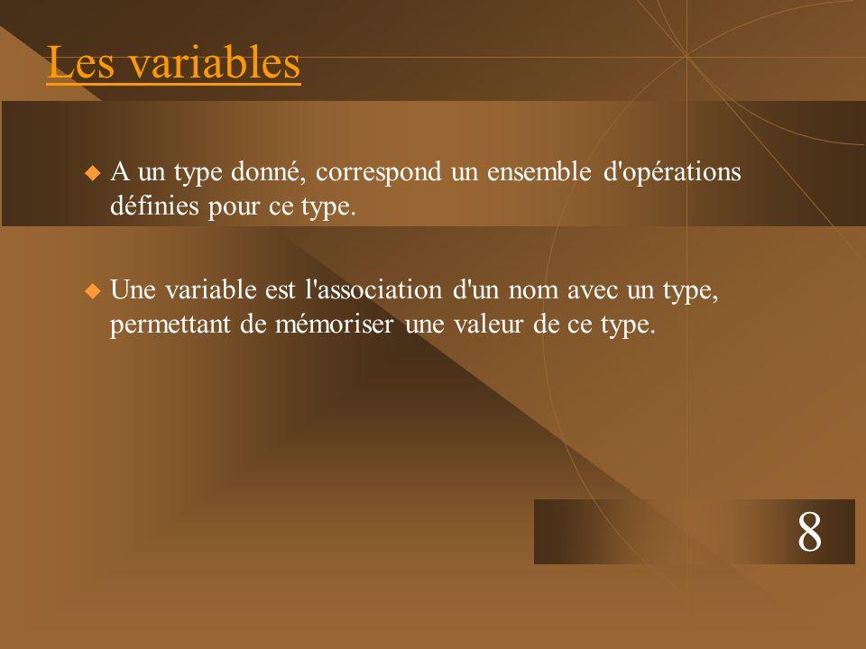 8 Les variables u A un type donné, correspond un ensemble d'opérations définies pour ce type. u Une variable est l'association d'un nom avec un type,