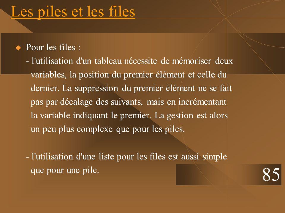 Les piles et les files Pour les files : - l'utilisation d'un tableau nécessite de mémoriser deux variables, la position du premier élément et celle du