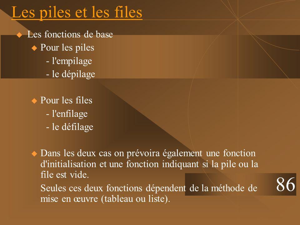 Les piles et les files Les fonctions de base u Pour les piles - l'empilage - le dépilage u Pour les files - l'enfilage - le défilage u Dans les deux c