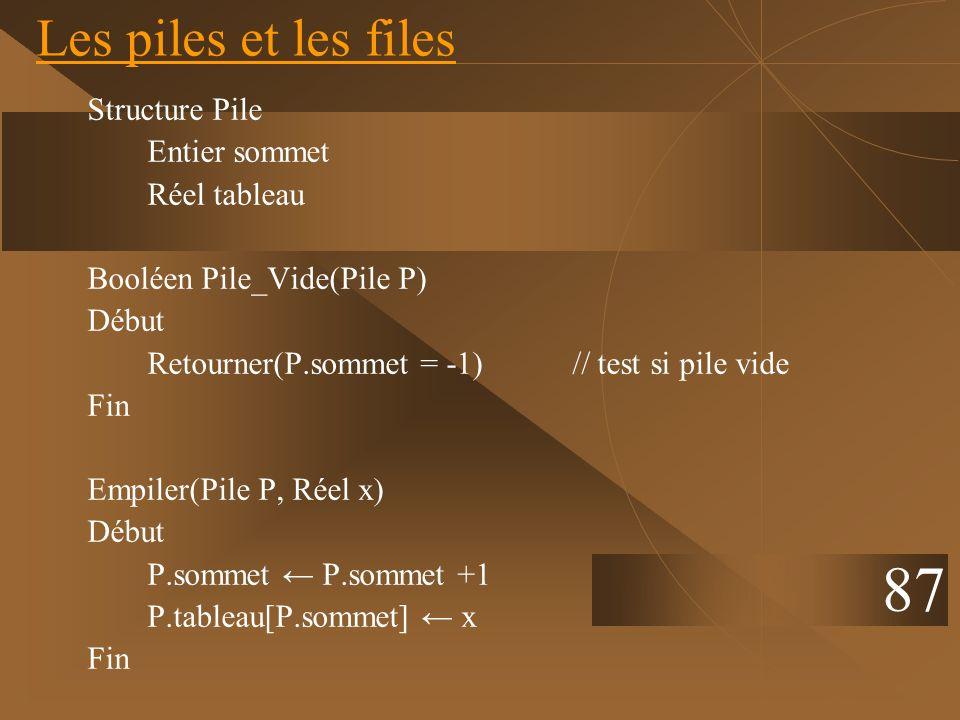 Structure Pile Entier sommet Réel tableau Booléen Pile_Vide(Pile P) Début Retourner(P.sommet = -1) // test si pile vide Fin Empiler(Pile P, Réel x) Dé
